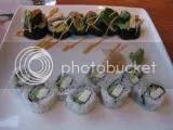 Dragon King's Daughter's sushi rolls:  Back: Summer Salad Roll; Front: Buffaroll