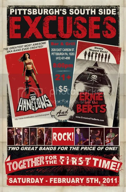 Sat. Feb. 5th at Excuses with the Hang Lows!