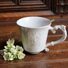 Large Monogrammed Stoneware Mug with Vintage Handle, White