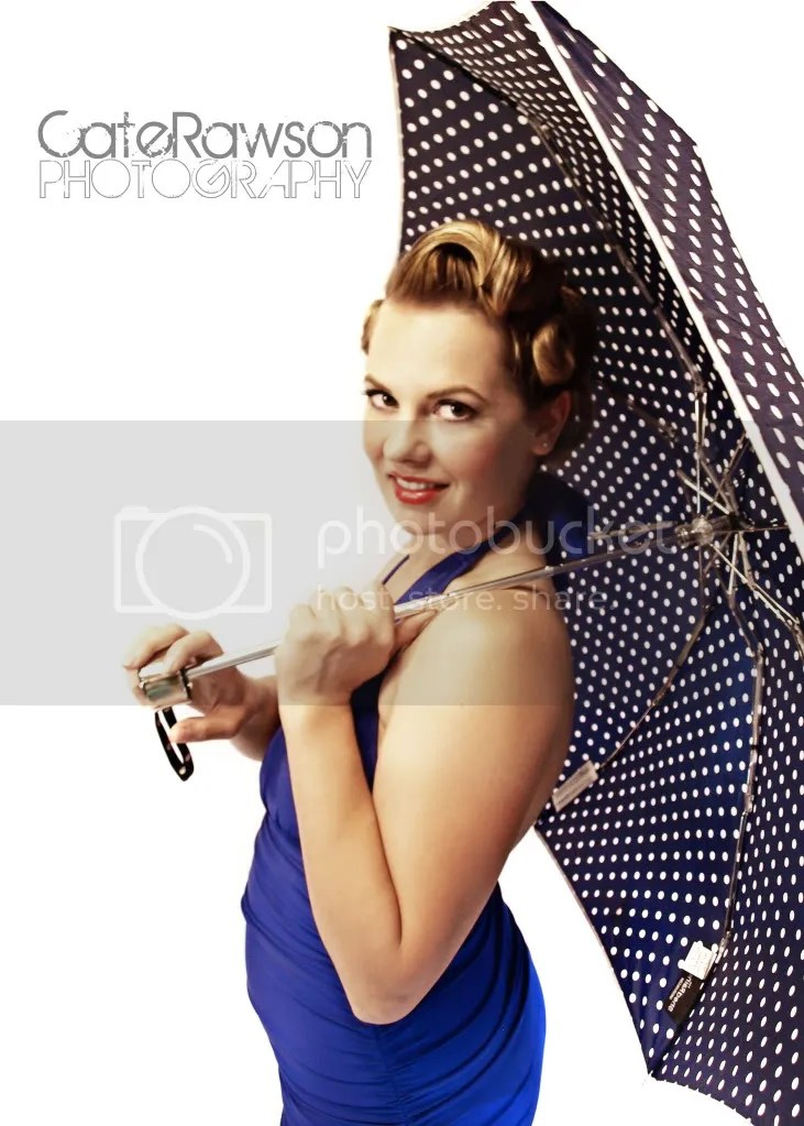 Vintage umbrella pin up photo