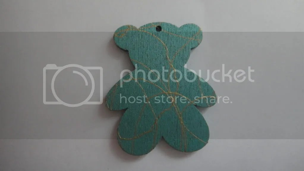 teddy bear bead in green and gold