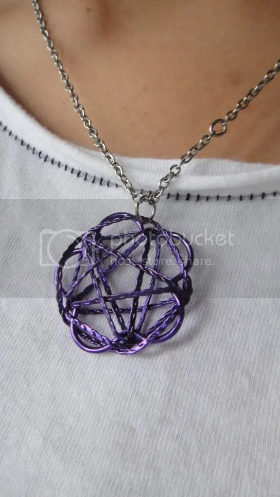 pentacle necklace purple metal