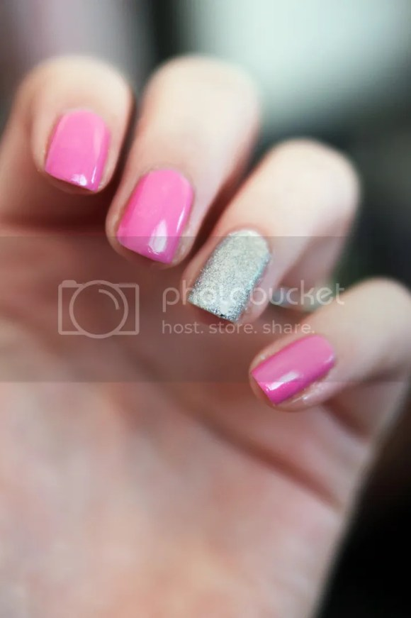 pink and silver glitter nails