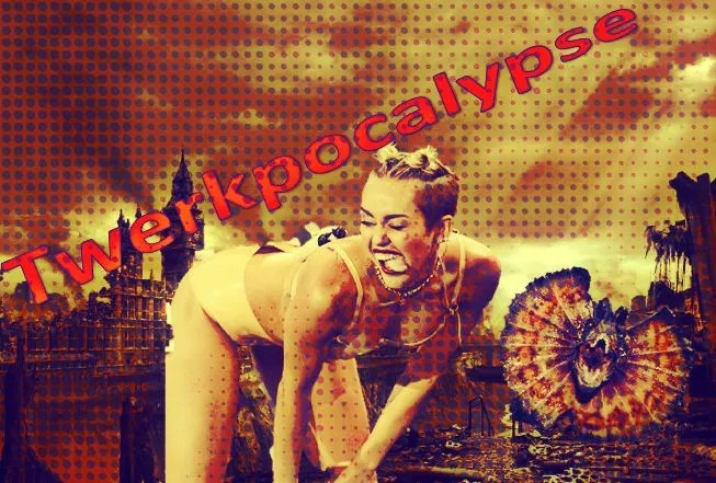 miley cyrus, twerking on big ben. scary dinosaur included.