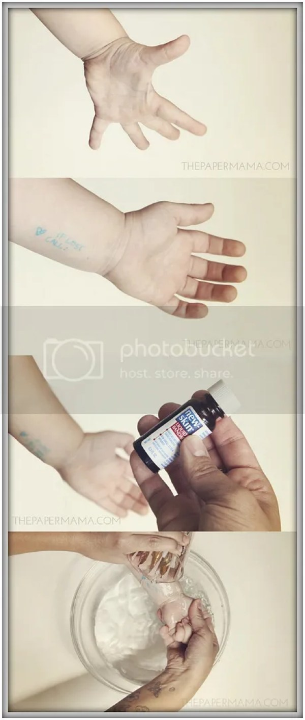 Brand New Mom Hacks to save your sanity! Use liquid band aide to protect an emergency phone number on your child.