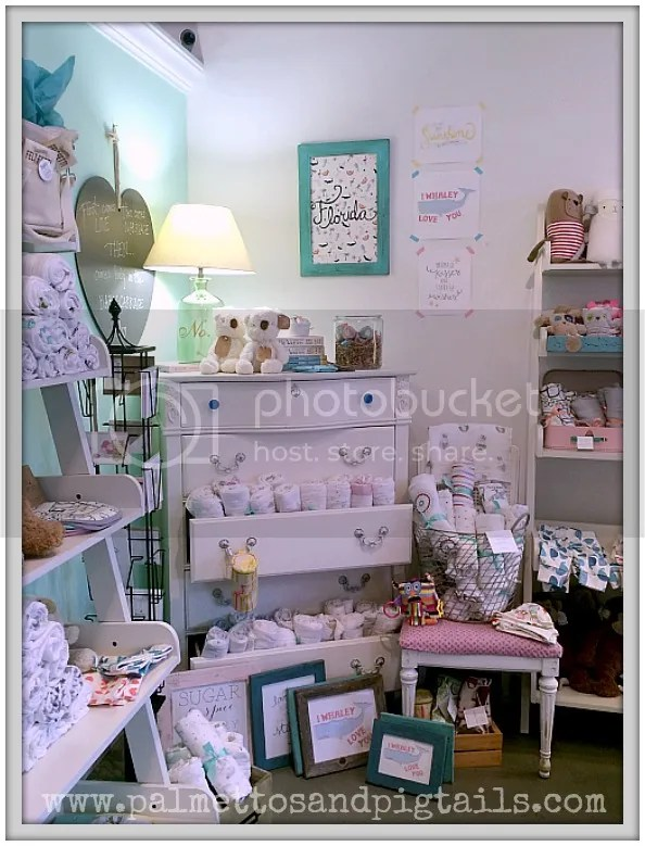 A variety of children's and nursery items in a cute display at Declaration Boutique in Saint Augustine, Florida