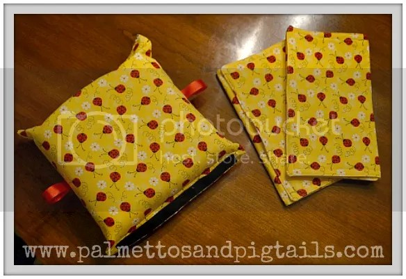 Matching Carseat Carrier Cushion and Burpcloths from Palmettos and Pigtails
