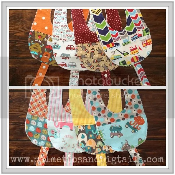 Bibs with Pacifier Holders in Palmettos and Pigtails' Etsy Shop