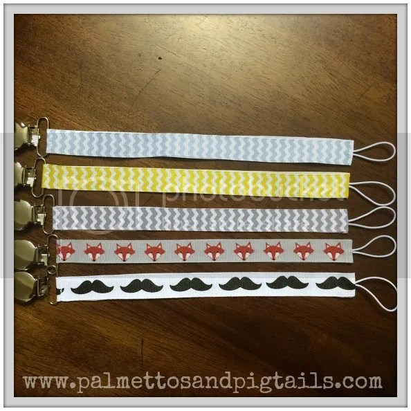 Universal Pacifier Clips in Palmettos and Pigtails' Etsy Shop