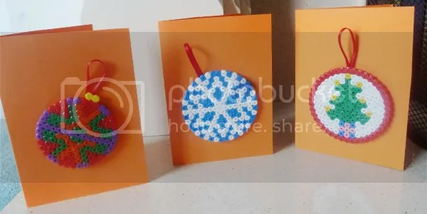 Hama bead Christmas cards