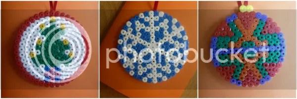 Hama bead Christmas cards ornaments