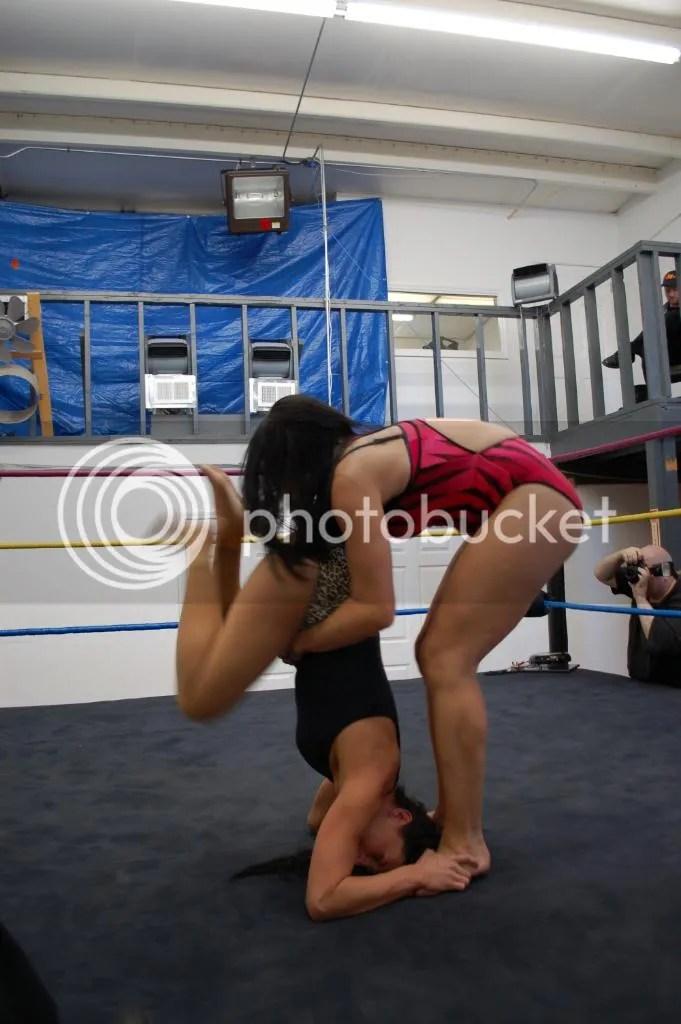 """Smokin' HOTT"" Nikki Lane pulls Santana Garrett up wheil she is still illegally standing on her hair photo DSC_0438.jpg"