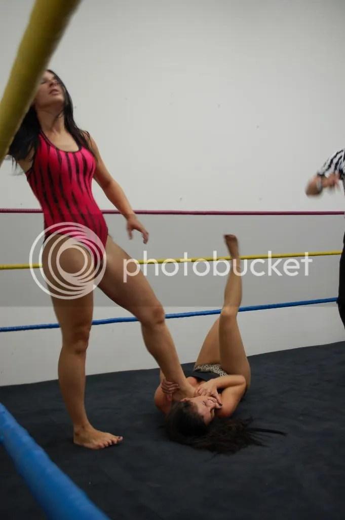 """""""Smokin' HOTT"""" Nikki Lane continues to use her left boot to choke the throat of Santana Garrett photo DSC_0443.jpg"""