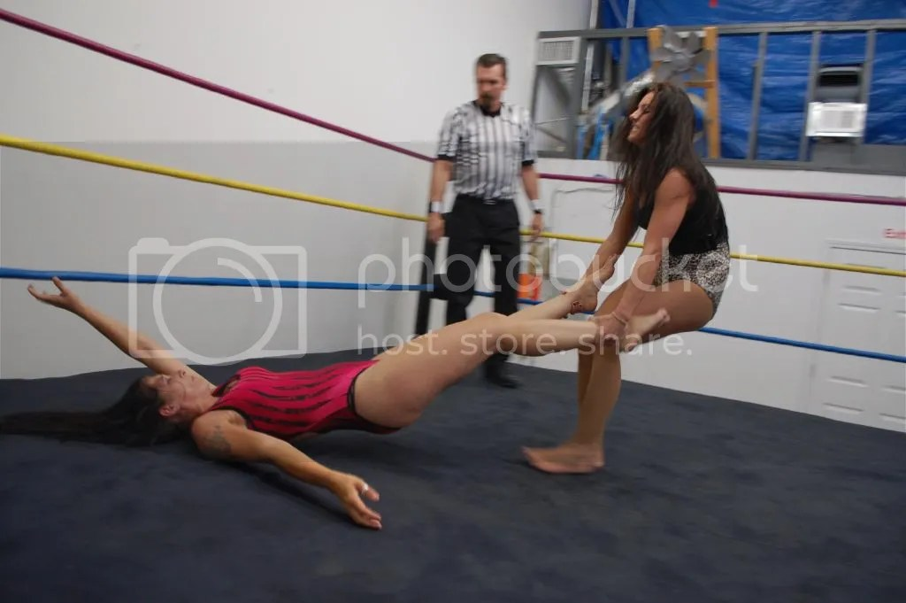 "Santana Garrett drags ""Smokin' HOTT"" Nikki Lane across the rign by her ankles photo DSC_0477.jpg"