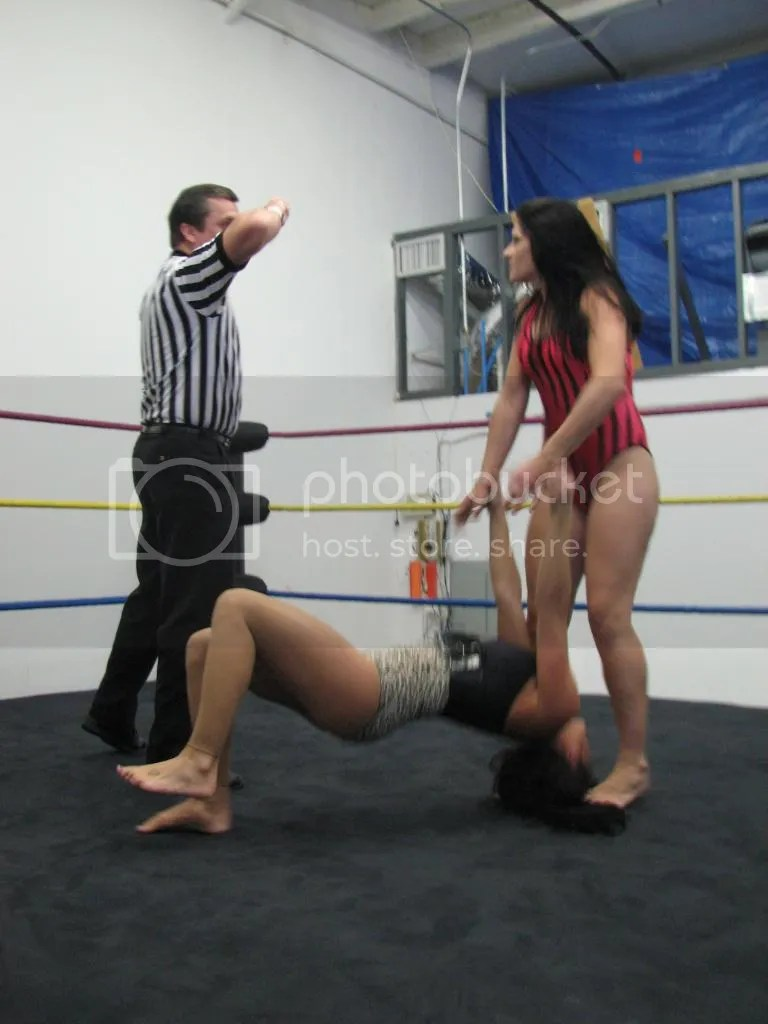 """Smokin' HOTT"" Nikki Lane maintains her illegal standing on the hair and her poulling up of the arms of Santana Garrett photo IMG_1806.jpg"