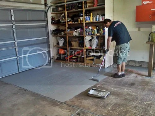 Andy painting garage with epoxy