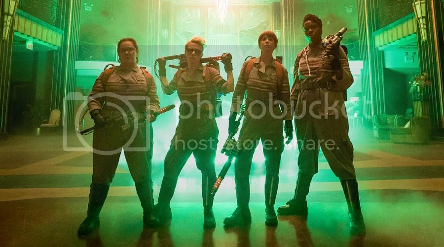 Kristin Wiig, Leslie Jones, Melissa McCarthy, and Kate McKinnon star in Ghostbusters.
