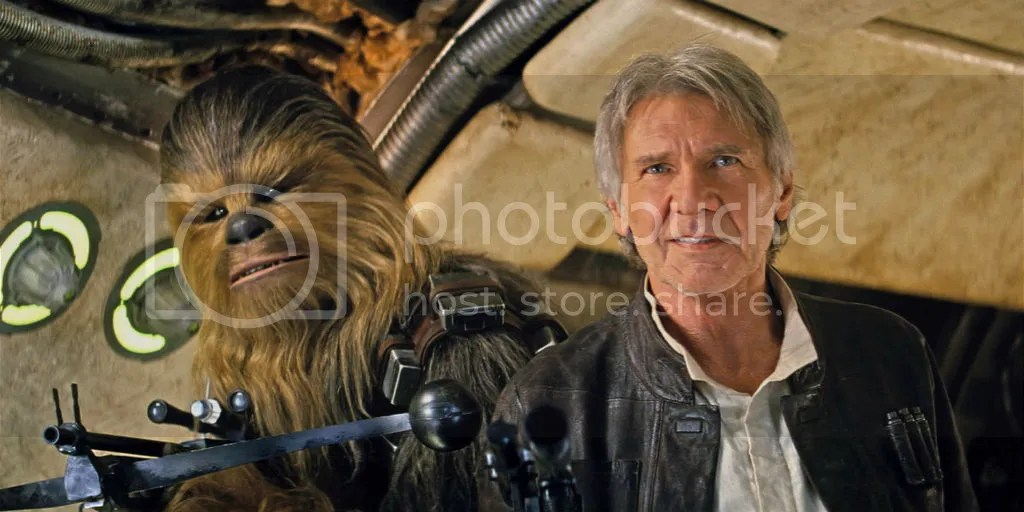 Han Solo and Chewbacca return in Star Wars: The Force Awakens.