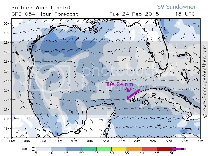 Tuesdays wind map with route
