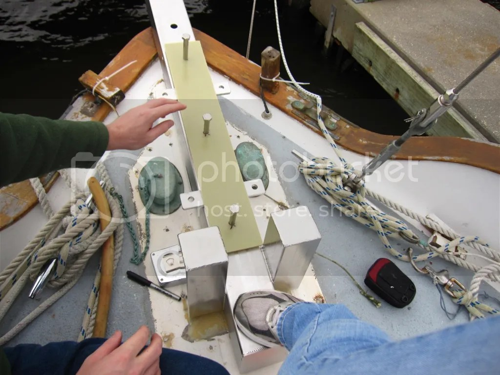 Putting bolts in the board for bowsprit