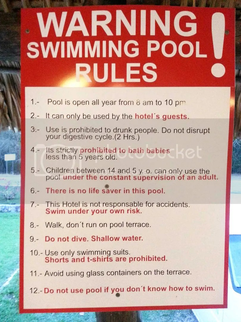 Hotel Pool rules, especially #3