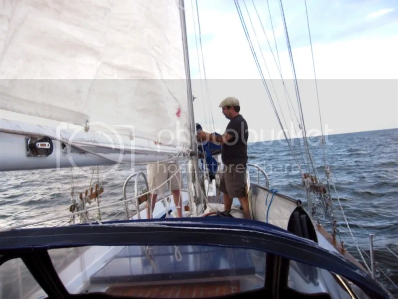 Beau raising the main sail
