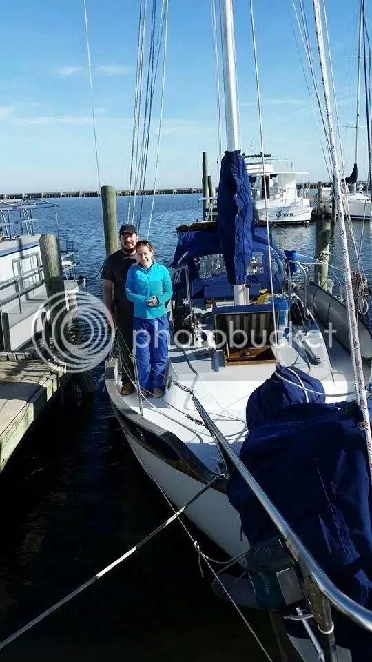 Tate and Dani aboard Sundowner at departure