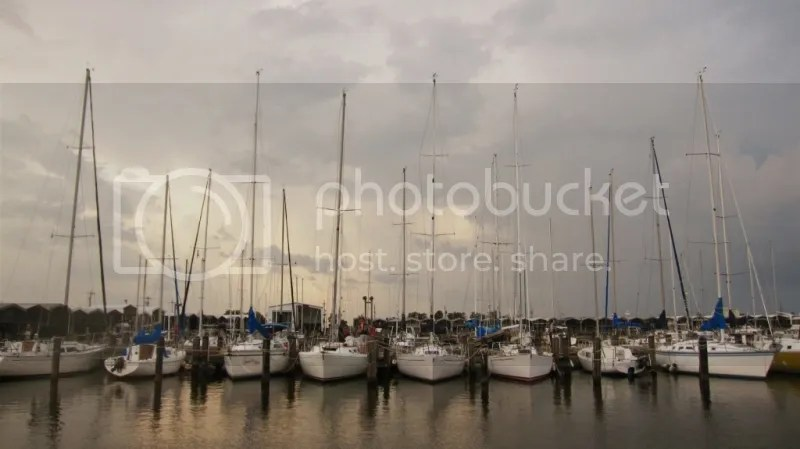 A line of Sailboats at New Orleans Marina
