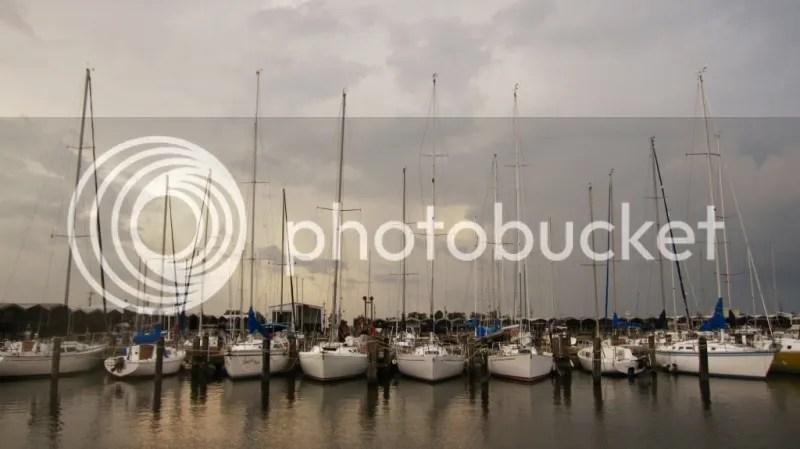 A line of Sailboats at New Orleans Marina