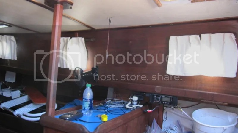 Old curtains in the boat