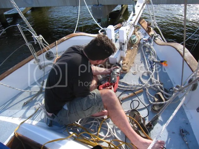 tate sawing the bowsprit