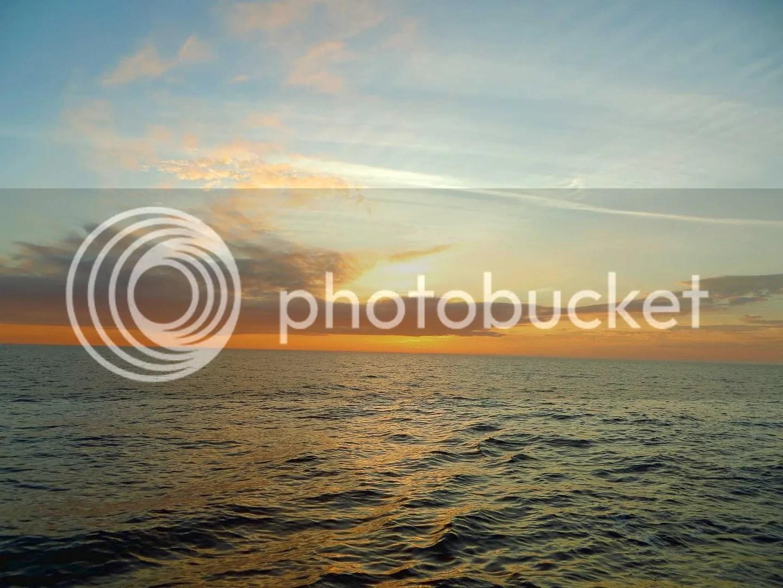 Sunset first night at sea