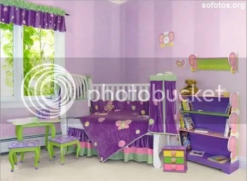 Quarto de bebe lilas com verde