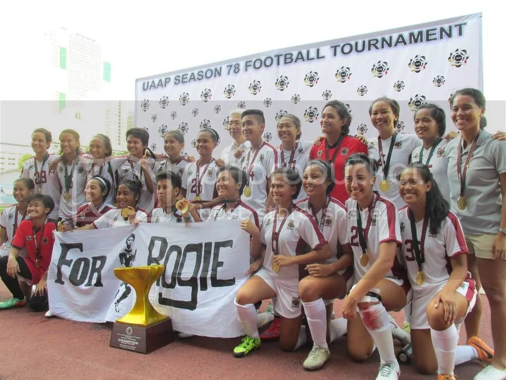 The UP Women's Football Team bagged its first ever UAAP title after beating La Salle, 2-1! ?#?GoalUP? ?#?UPFight? ?#?ForRogie? Photo by David Tristan Yumol