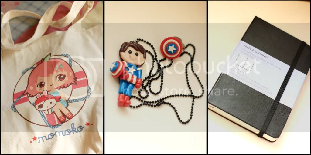 L: Momoko tote bag, C: Captain America jewelry from True Fidelity, R: Moleskine from Avalon.ph