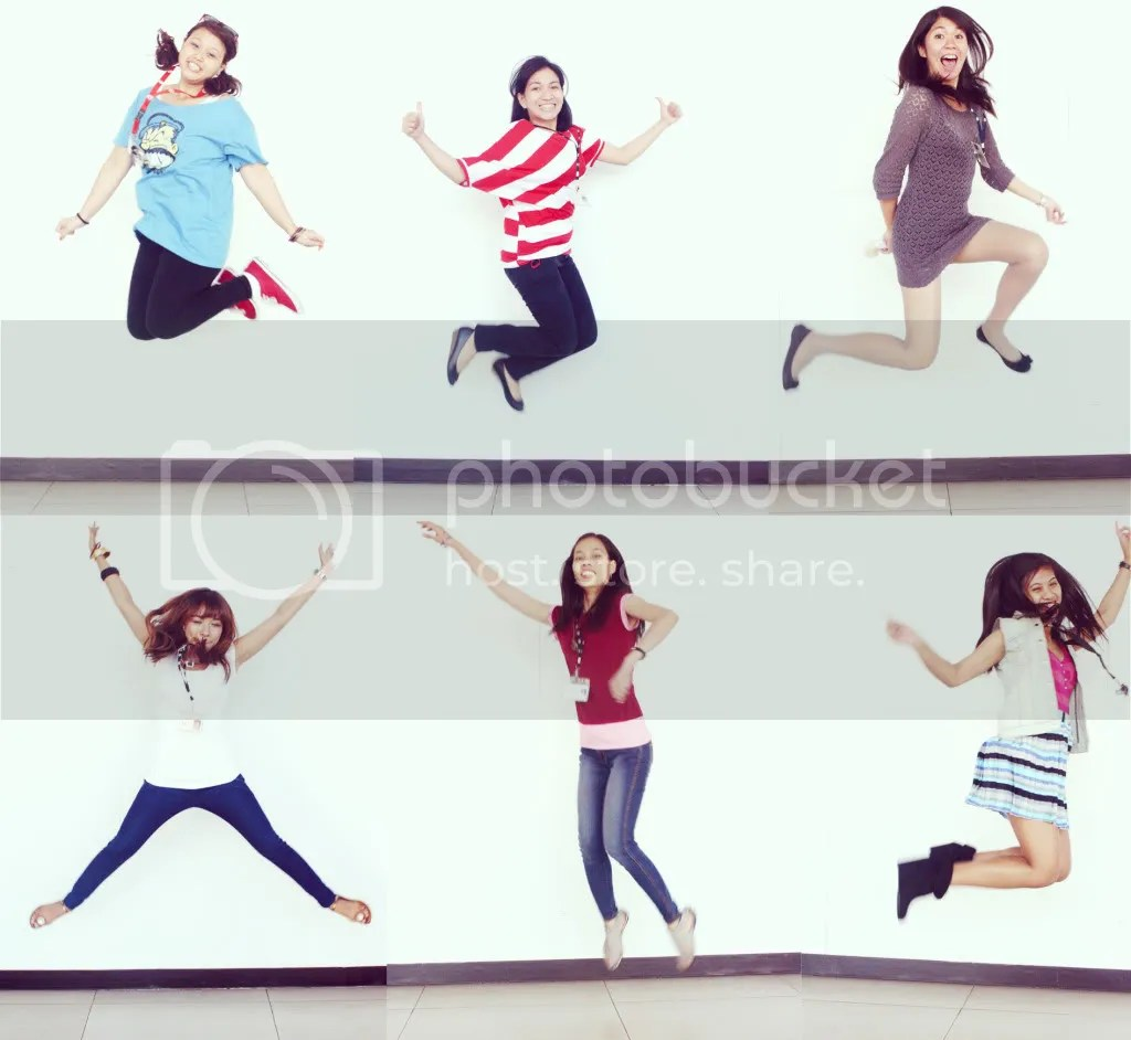 Clare, Jera, Argee, Karen, Rose, and Tateen jump shots.
