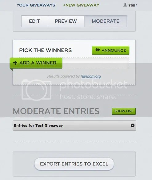 Rafflecopter - Moderate Entries and Winner