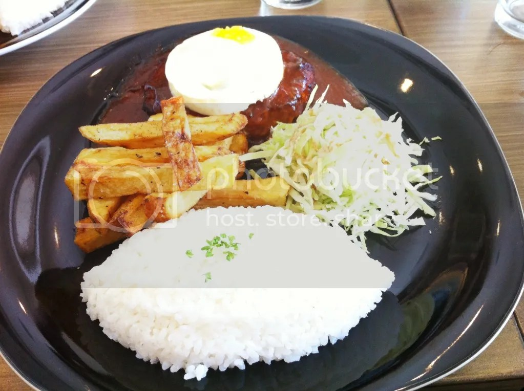 Burger Steak with Japanese Gravy and Tamago Topping