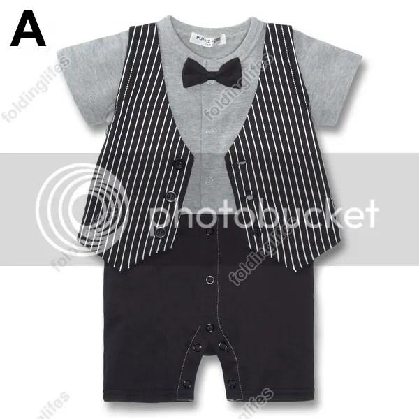 Baby Kids Toddler Boys Gentleman Bodysuit Jumpsuit Romper Bowknot Tuxedo Costume EBay