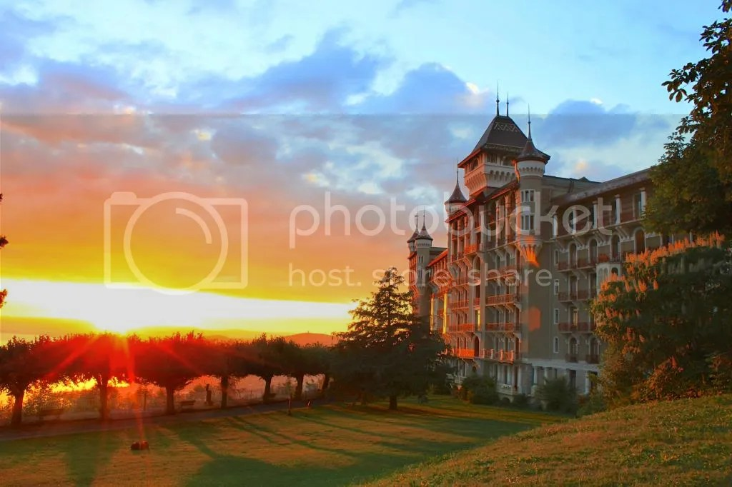 Caux Palace at Sunset