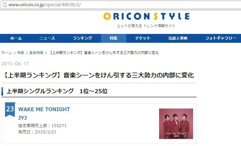 """INFO] 150617 Oricon Single Ranking – JYJ's """"WAKE ME TONIGHT"""" #23 for"""