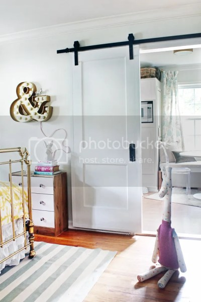 Barn Door Decor Baby Bedroom Nursery Giraffe Stuffed Animal Ampersand Marquee Letter Sliding Door Modern Contemporary Home Decor