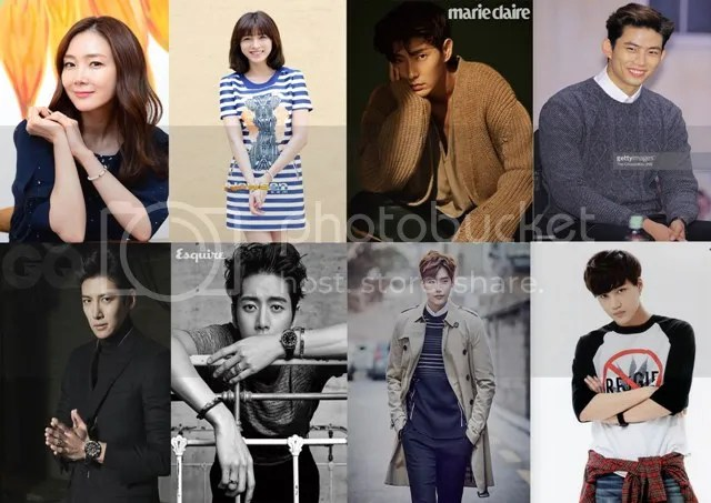 Choi Ji Woo, Lee Cho Hee, Lee Jun Ki, Taecyeon, Ji Chang Wook, Park Hae Jin, Lee Jong Suk y Kai