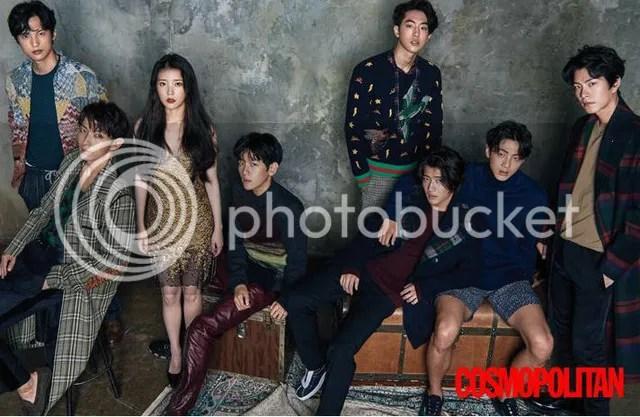 IU, Lee Jun Ki, Kang Haneul, Hong Jong Hyun, Ji Soo, Nam Joo Hyuk, Yoon Sun Woo y Baekhyun para Cosmpolitan, agosto de 2016. 2