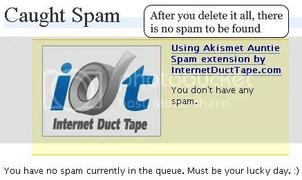 all spam deleted -- no spam found