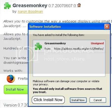 firefox greasemonkey install click install button