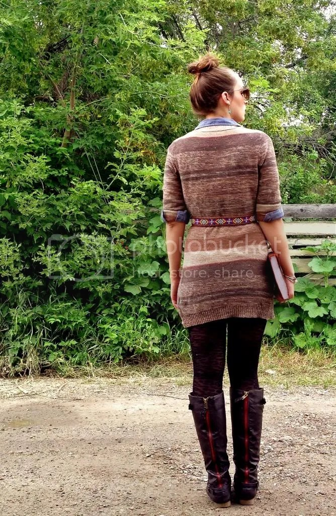 multi-color stripe sweater, tight and boots