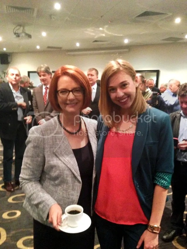 Jess and Australian Prime Minister Julia Gillard enjoying delicious tea at the New South Wales Candidate Training Day in Parramatta