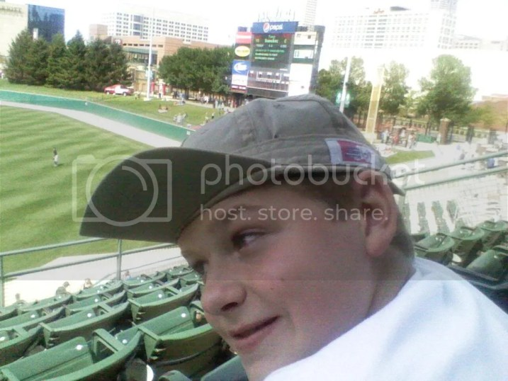 Aiden wearing a rally cap in the 9th inning of the Indianapolis Indians game