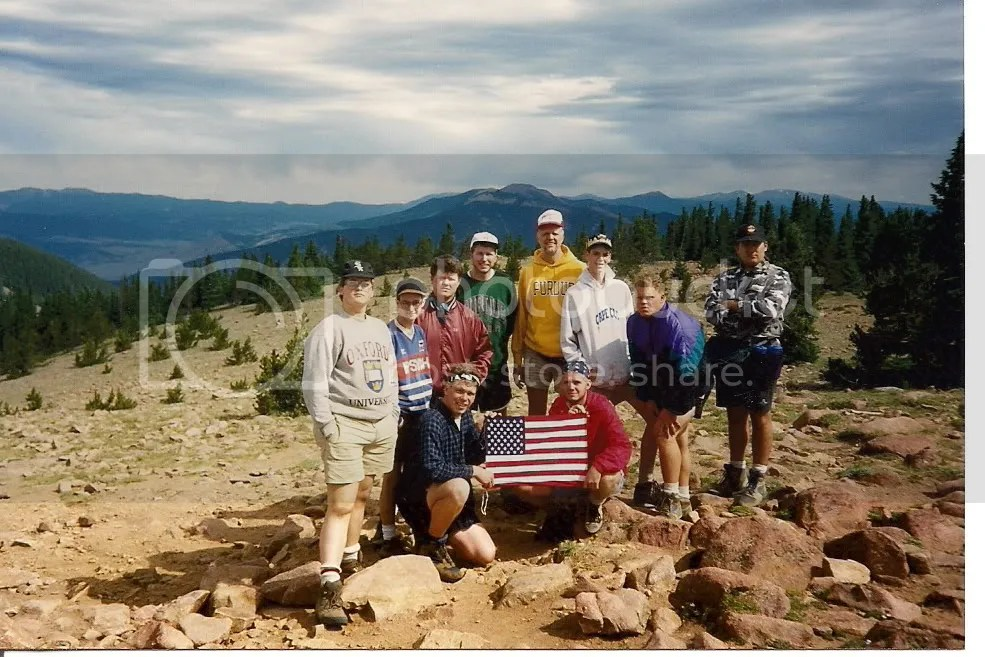 Our crew at Philmont after reaching the summit of Mt. Phillips.